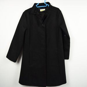 Black wool/polyester blend coat free shipping